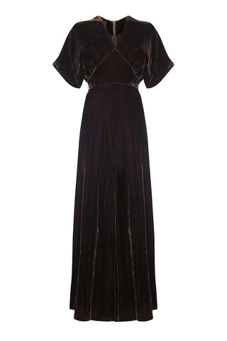 Aurora maxi dress in chocolate silk velvet