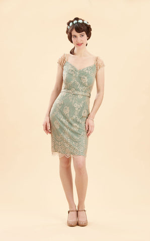 Beaux dress in platinum lace