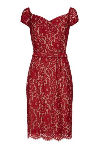 Beaux dress in ruby flower lace