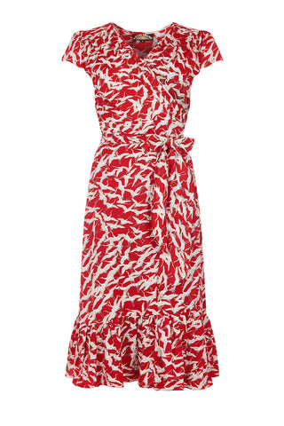 Bella wrap dress in ruby stork crepe - mannequin front