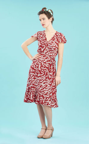 Bella wrap dress in ruby stork crepe - studio shot