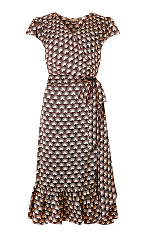 Bella wrap dress in chocolate fan print crepe