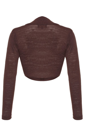 Belle shrug in chocolate fine knit - back cutout