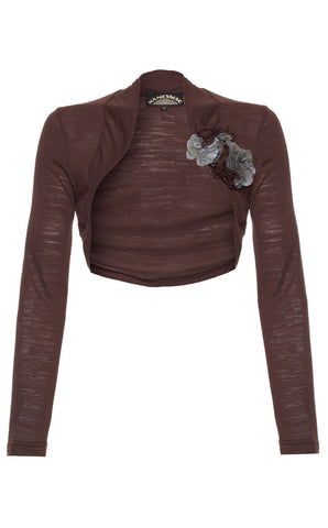 Belle shrug in chocolate fine knit - front cutout