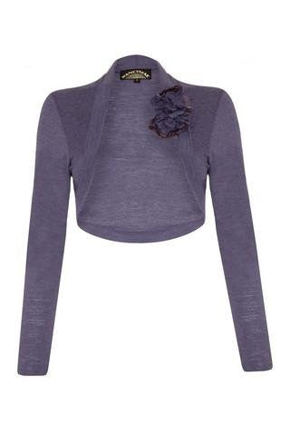 Nancy Mac Belle shrug in purple smoke fine knit