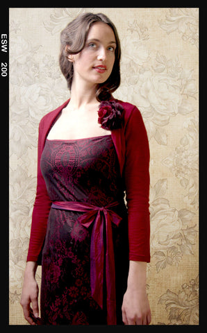 Belle shrug in deep red fine knit