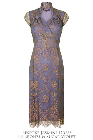 Bridesmaids dresses in bronze and sugar violet