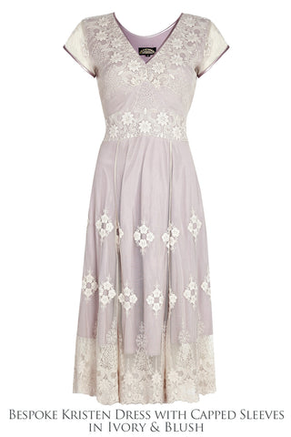 Bridesmaids dresses in ivory and blush