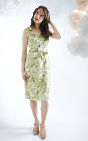 Blanche shift dress in green Candy Floral silk cotton