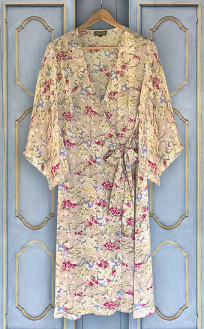 Kimono wrap dress in blush floral print crepe