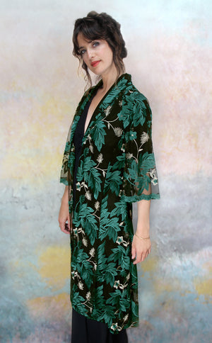Bonnie jacket in emerald embroidered pine lace - side model shot