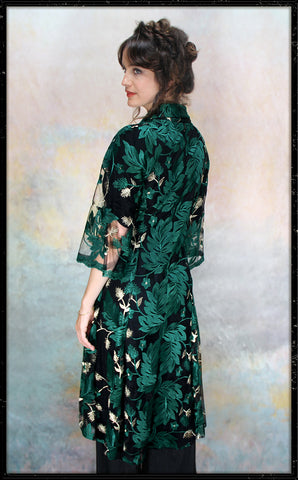Bonnie jacket in emerald embroidered pine lace - framed model shot