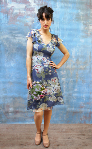Nancy Mac's romantic silk georgette Cara dress in rose and soft blue