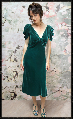 Cassandra dress in peacock silk velvet - front model shot framed