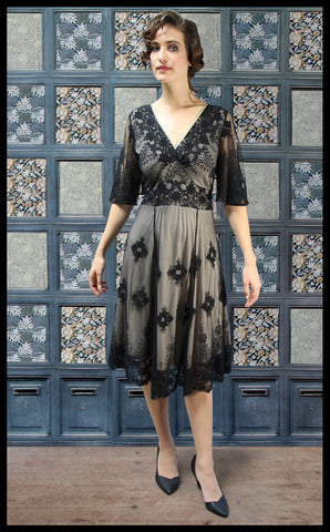 Nancy Mac Cathleen vintage style dress in black embroidered lace