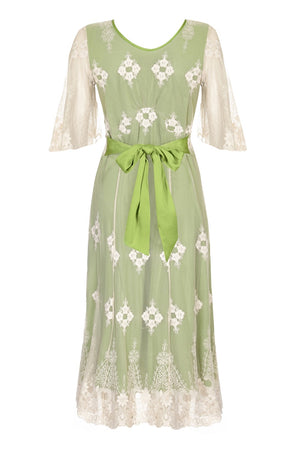 Nancy Mac Cathleen dress in ivory and green embroidered lace - mannequin back