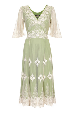 Nancy Mac Cathleen dress in ivory and green embroidered lace - mannequin front