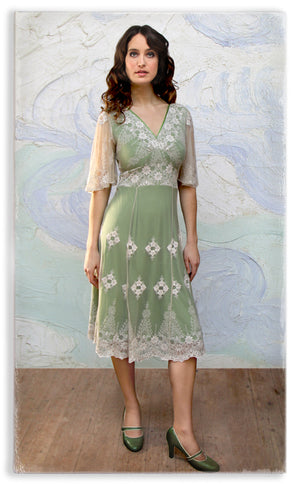 Nancy Mac Cathleen dress in ivory and green embroidered lace