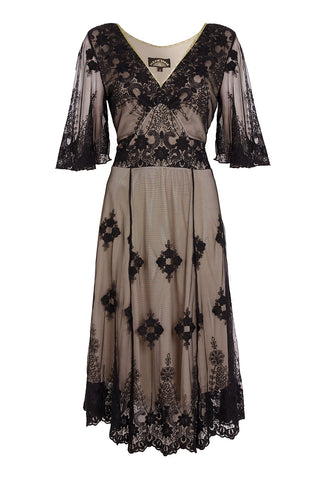 Nancy Mac Cathleen vintage style dress in black embroidered lace - mannequin