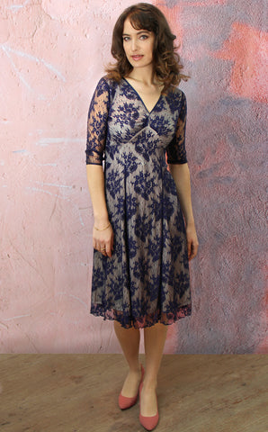 Christy dress in French navy lace