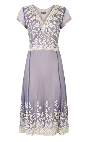Nancy Mac Claudia tea-dress in Periwinkle blue and ivory lace, v-neck and panelled skirt - mannequin shot