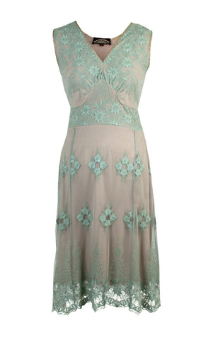 Claudia dress in reef green lace - front cutout