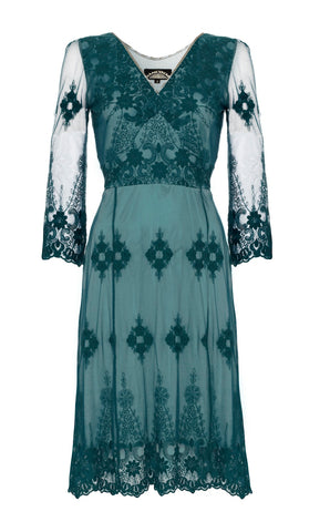Claudia long-sleeve dress in teal lace - front cutout