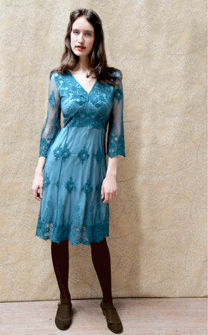 Claudia long-sleeve dress in teal lace - studio shot