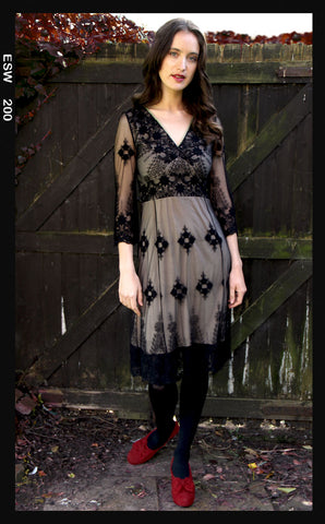 Claudia long-sleeve dress in black lace