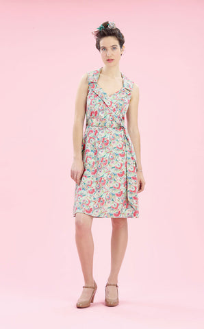 Cleo dress in Parasol Garden silk cotton - studio shot