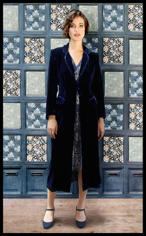 Nancy Mac vintage style coat in midnight blue velvet perfect for Winter weddings - model shot