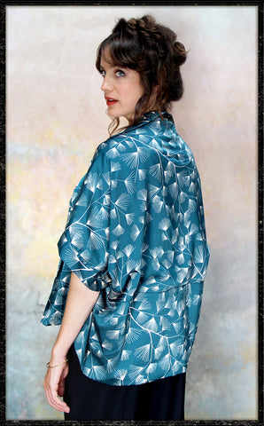 Cocktail kimono in teal mountain-pine print crepe