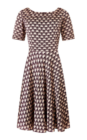 Connie dress in chocolate fan print crepe