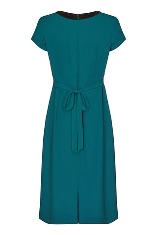 Corina dress in emerald moss crepe - back mannequin shot