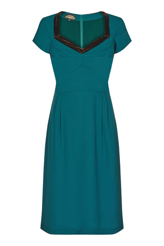 Corina dress in emerald moss crepe - front mannequin shot