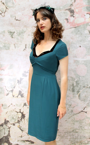 Corina dress in emerald moss crepe - front model shot