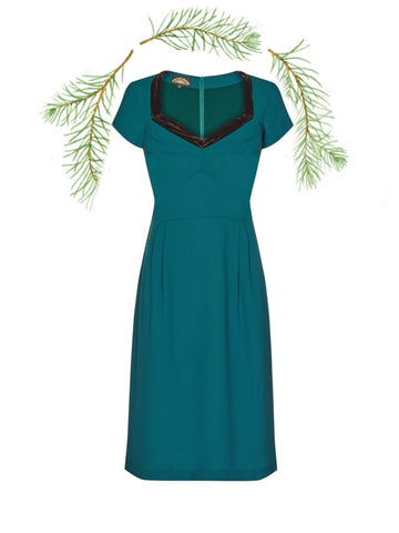 Corina dress in emerald moss crepe