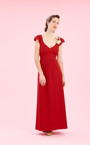 Cynthia maxi dress in ruby crepe