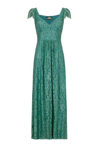 Cynthia maxi dress in Shanghai green lace
