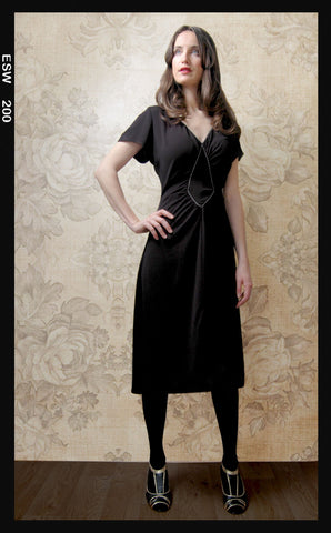 Anya dress in classic black crepe - studio shot