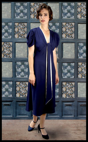 Nancy Mac's Dixie sash dress in deep blue moss crepe