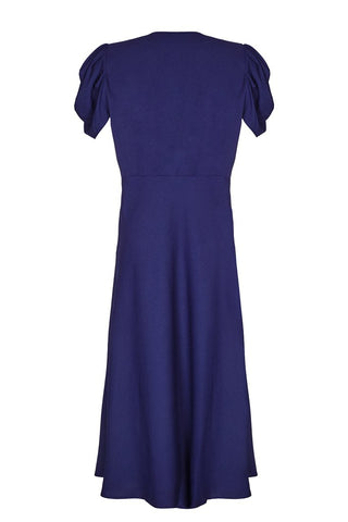 Nancy Mac's Dixie sash dress in deep blue moss crepe - mannequin back