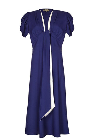 Nancy Mac's Dixie sash dress in deep blue moss crepe - mannequin
