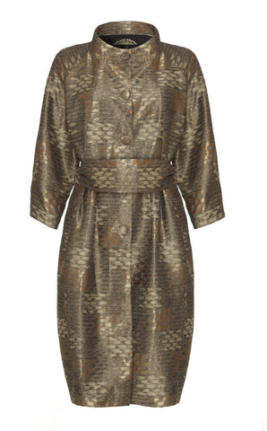 Dolce Vita coat in burnished gold jacquard