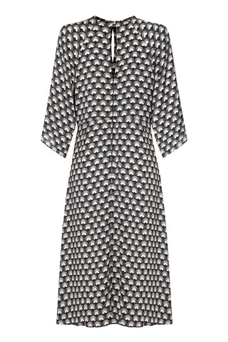 Dolce knot dress in jet fan print crepe - back mannequin