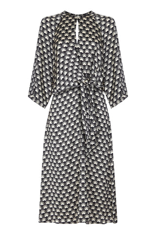 Dolce knot dress in jet fan print crepe - front mannequin
