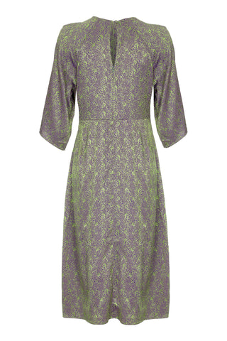 Nancy Mac Dolce knot dress in peridot green jacquard - mannequin back