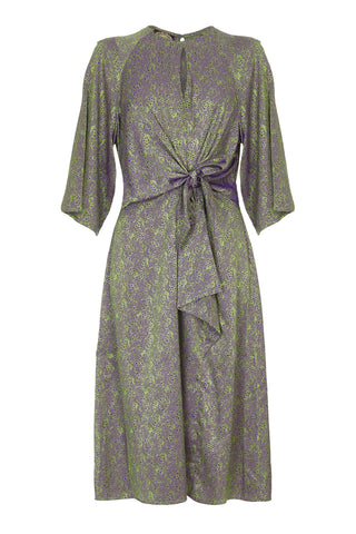 Nancy Mac Dolce knot dress in peridot green jacquard - mannequin front