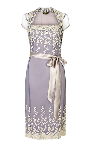 Nancy Mac Edie dress - Summer occasion tea dress in Periwinkle blue and ivory lace