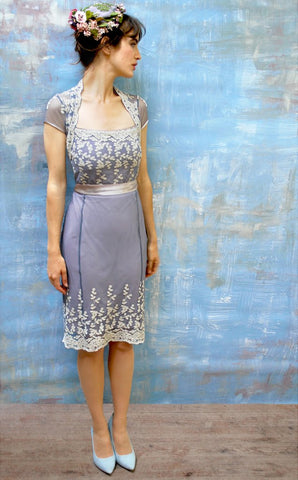 Edie dress in Periwinkle embroidered lace